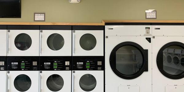 Large capacity dryers.  Many dryers to choose from, no waiting for washers and dryers.