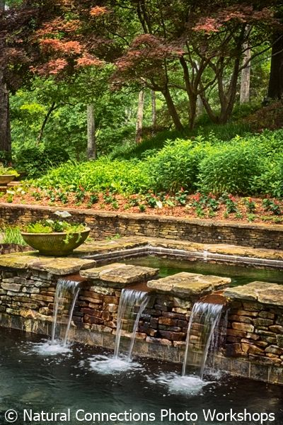 gibbs gardens, fountain, spring, photo workshop, photography class, photography tour
