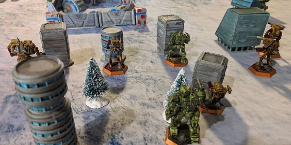 Epic war game battle of BattleTech with in-store terrain!