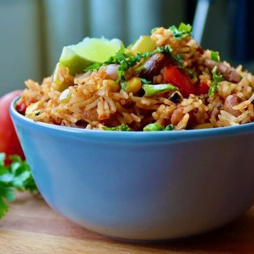 Authentic Mexican Rice in Blue Bowl