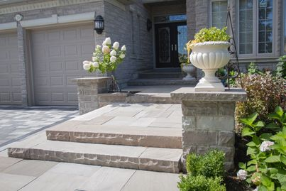 STEPS, PATIO, PIER CAP, LANDSCAPING, FLAGSTONE, PAVERS , SLATE GREY, BROWN, GARDEN CENTER