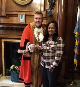 Thank you Lord Mayor Kingston-Upon-Hull for presenting Lord Mayor's civic coin to Mary Penn (SLAS)