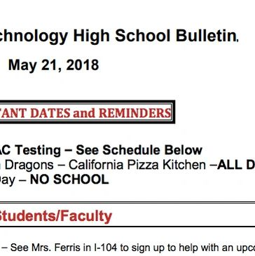 Foothill School Bulletin