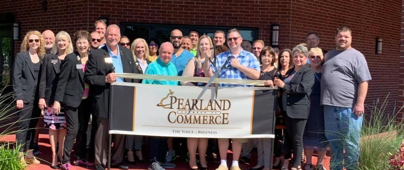 Ribbon cutting ceremony at the Pearland Chamber of Commerce  for David Rowe of Rowe Inspection