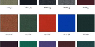 Fabric sample of colours available