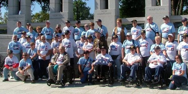 WWII and Korean War veterans with Honor Flight New England at World War II memorial in Washington DC
