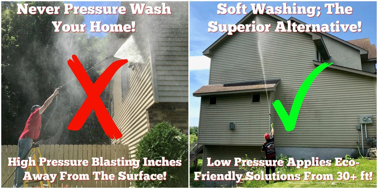 pressure washing, softwashing, soft wash, exterior cleaning, roof cleaning, power washing in MN