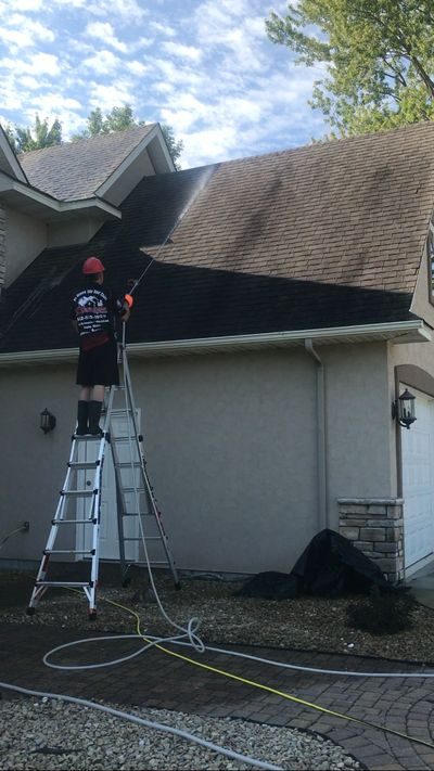 roof stains, roof cleaning, roof softwash, low-pressure roof cleaning, ugly roof stains,