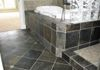 A different angle, Heated tile floor, Honed Slate on a diagonal with clipped corner Limestone inserts.
