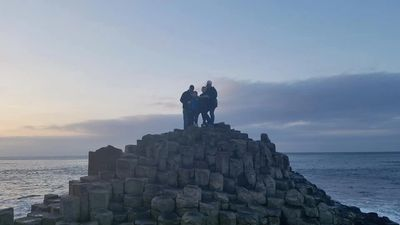 Kelly and her family at the Giant's Causeway in Nov. 2017