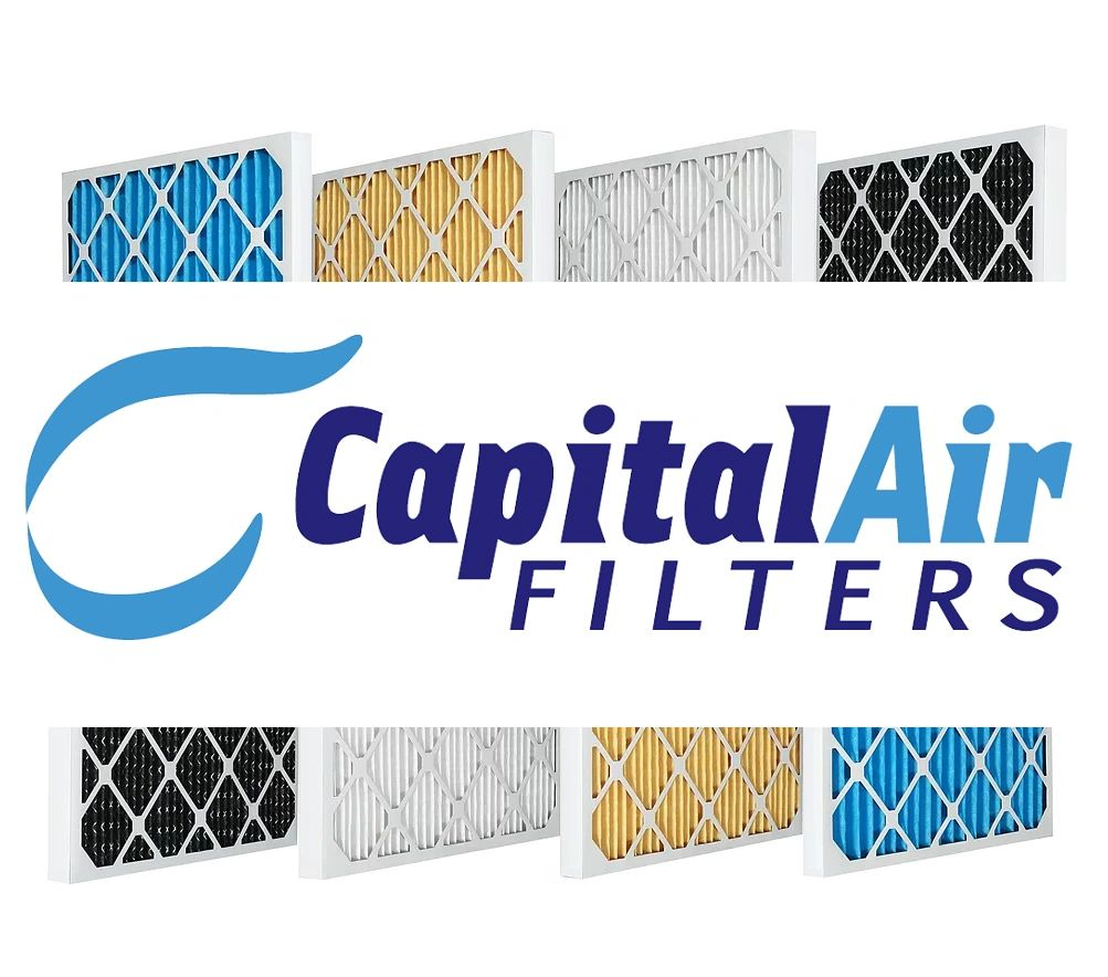Capital Air Filters logo with pleated filters above and below MERV 10, 11, 13, carbon air filters