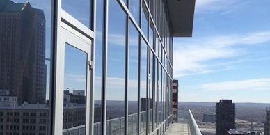 Curtain walls, aluminum curtain walls, curtain walls.  Commercial glass, commercial glazing