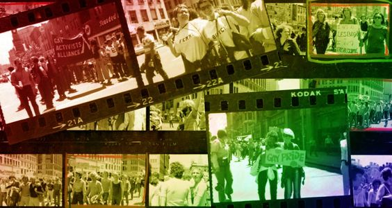 Image of filmstrip of images from the 1970s street marches.