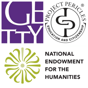 Logos for National Endowment for the Humanities, the Getty Foundation, and Project Pericles.