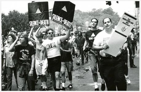 Eugene Gordon, ACT UP activists at Pride March, 1988.