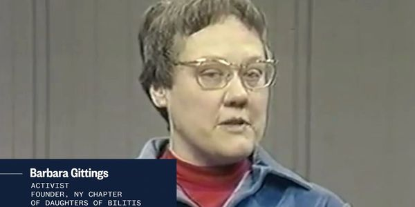 Screenshot of activist Barbara Gittings from NBC OUT site.