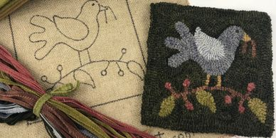 rug hooking kits complete with pattern and cut strips of wool.