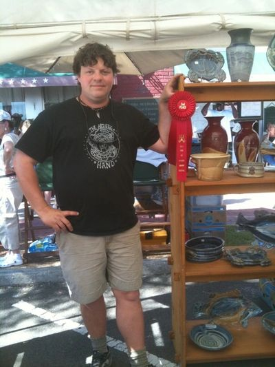 Here I am at Shrimp Fest 2008. I won 2nd place for Sculpture this year.