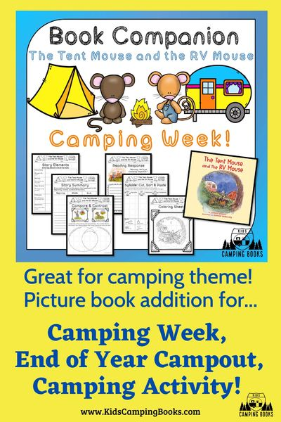 Book companion book study for The Tent Mouse and the RV Mouse, camping week activities, kindergarten