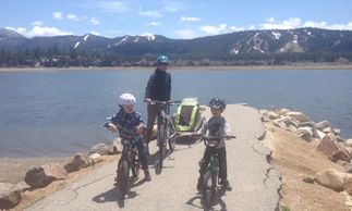 Kids Camping Books Author Loretta Sponsler biking with her family