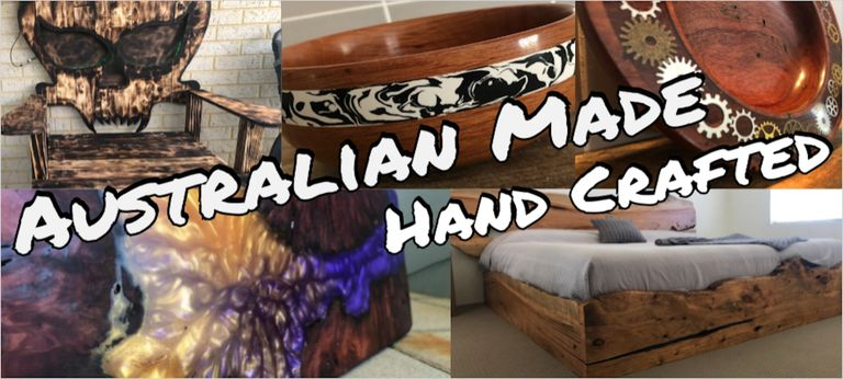 Australian made, hand crafted pieces. wooden skull chair, live edge bed frame, resin river