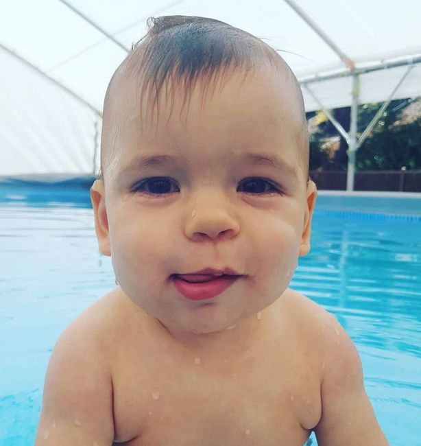 cute baby, swimming baby, isr, infant aquatics, pool, summer, cute baby swimming, latino baby, happy