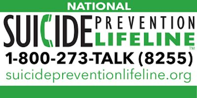 The words suicide prevention hotline are shown with the number 1-800-273-8255