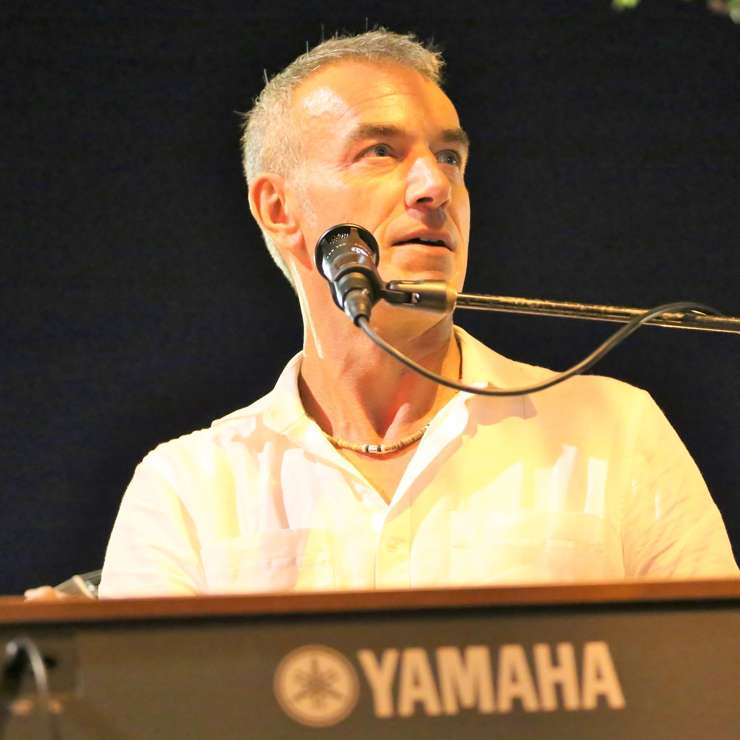 Mike Petrone looking away at the microphone as he sits at a keyboard at a concert outside at night.