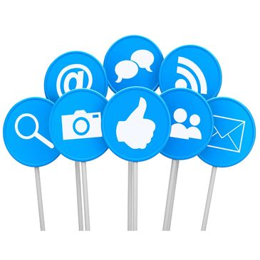 social media icons on stick