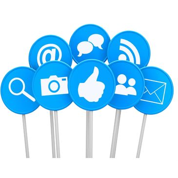 social media icons on a stick