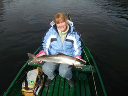 Donna A. with a nice Miramichi River sping salmon