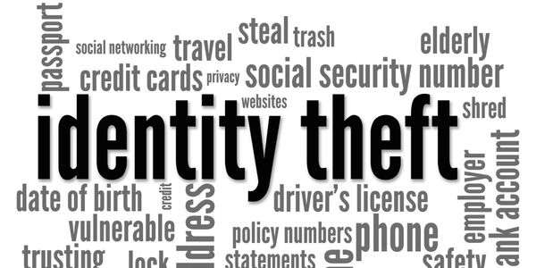 Words art that list different types of identity theft.