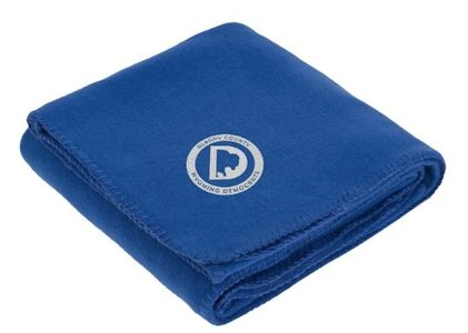 This cozy fleece blanket is perfect for Laramie winters! The blanket is made of 100% polyester anti-