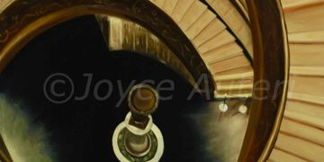 Golden staircase in Vatican,oil painting by Joyce Auteri,designed by Michelangelo,rome, italy,spiral