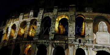 The Colosseum, Rome, Italy, Oil Painting by Joyce Auteri,Canvas,Architecture, Gladiators Ampitheater