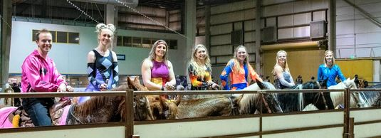 Talented Group of Girls on horseback that trick ride
