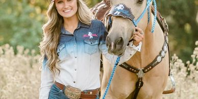 Blonde Cowgirl Rodeo Naked Sponsored Wearing Rodeo Naked with her Horse