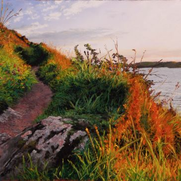 Pastel painting of the coast path at Manorbier, Pembrokeshire, at sunset