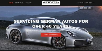 Example of German Auto Repair Shop Custom Website Design by Toby Willits at Ruga Duga Web Desing.