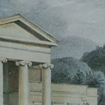 Close up of the pediment of the Devizes Assize Court. Engraving by Thomas Wyatt - the architect