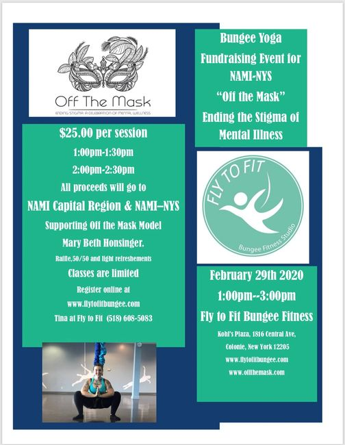 "Yoga Bungee Fundraiser Event for NAMI-NYS ""Off the Mask""  $25 per Yoga Bungee Session"