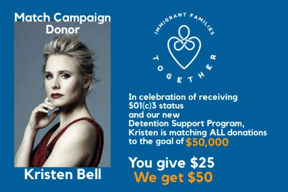 Kristen Bell matches Immigrant Families Together donations