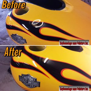Photo before and after of dent PDR repair on yellow Harley Davidson motorcycle tank with flames.