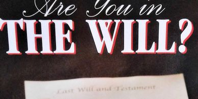 Cynthia's book cover, Are You In the Will?