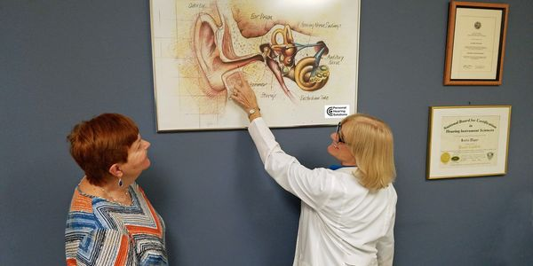 Sandra Wagner, BC-HIS, explaining the ear to a patient.
