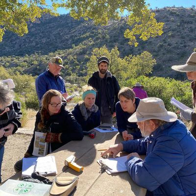 A group of master naturalists examines scat found on the trail
