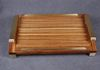 Serving tray- African Beli Wood- Hand      made BRASS handles infilled with Beli   wood-  BRASS fiddle rails.