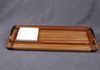 Serving Tray- African Beli Wood- Grape pattern olive oil dish -Copper tone handles
