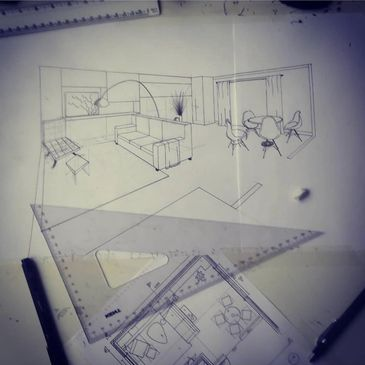 Hand-Drawn 2-point perspective.