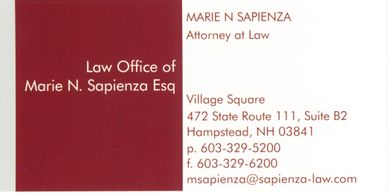 Law Office of Marie Sapienza Business Card
